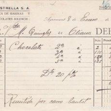 Facturas antiguas: FACTURA LA ESTRELLA FABRICA DE HARINAS Y CHOCOLATES JOLONCH, AGRAMUNT 1924. Lote 152024350