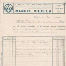 Facturas antiguas: FACTURA MANUEL VILELLA, LERIDA 1923. Lote 152025758