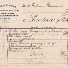 Facturas antiguas: FACTURA. PEREZTEVAR Y SUÁREZ. AGENCIA DE ADUANAS. CÁDIZ 1924. Lote 152272422
