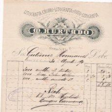 Facturas antiguas: FACTURA. M. HURTADO. LITOGRAFÍA-CROMOLITOGRAFÍA-FOTO LITOGRAFÍA. JEREZ 1890. Lote 152459282