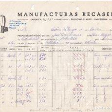 Alte Rechnungen - Factura. Manufacturas Fecasens. Barcelona 1951 - 152543462