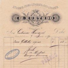 Facturas antiguas: FACTURA. M. HURTADO. LITOGRAFÍA-CROMOLITOGRAFÍA-FOTO LITOGRAFÍA. JEREZ 1890. Lote 152906326