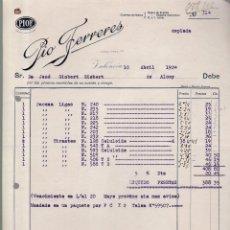 Faturas antigas: VALENCIA - 1924 - PIO FERRERES - 10 ABRIL 1924. Lote 153177310