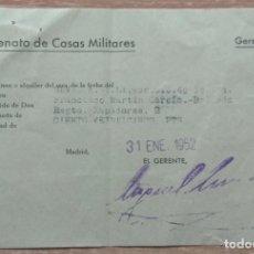 Facturas antiguas: DOCUMENTO ALQUILER CASAS MILITARES REGIMIENTO DE ZAPADORES MADRID 1952. Lote 153463710