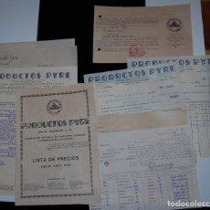 Facturas antiguas: FACTURAS DE FARMACIA PRODUCTOS PYRE LISTA DE PRECIOS Y OTROS DOCUMENTOS 1934 // LOS DE LA FOTO. Lote 153740006