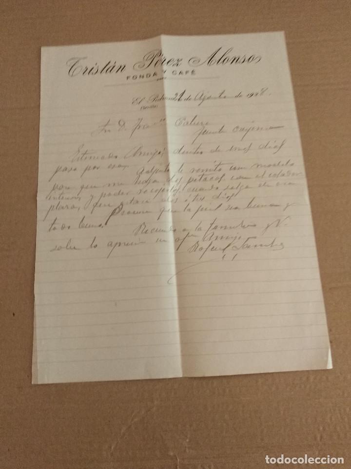 CARTA COMERCIAL EL PEDROSO SEVILLA TRISTAN PEREZ ALONSO FONDA Y CAFE 1928 (Coleccionismo - Documentos - Facturas Antiguas)