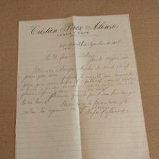 Facturas antiguas: CARTA COMERCIAL EL PEDROSO SEVILLA TRISTAN PEREZ ALONSO FONDA Y CAFE 1928. Lote 154660750