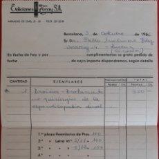Facturas antiguas: FACTURA EDICIONES ZARAY S.A BARCELONA 1966. Lote 154743957