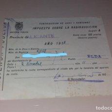 Facturas antiguas: PAPEL ANTIGUO. IMPUESTO SOBRE LA RADIOAUDICIÓN. ELDA (ALICANTE), 1958. Lote 154872006