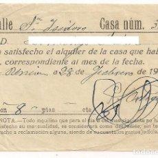 Facturas antiguas: RECIBO O FACTURA PAGO ALQUILER - 28 DE FEBRERO AÑO 1935. Lote 154933366