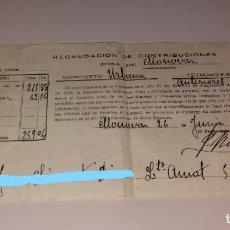Facturas antiguas: PAPEL ANTIGUO. RECIBO AYUNTAMIENTO MONÓVAR. RECAUDACIÓN DE CONTRIBUCIONES. AÑOS GUERRA CIVIL. Lote 154995842