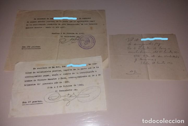 PAPEL ANTIGUO. RECIBO RECIBÍ PAGO POR TIERRAS, ZONA ELDA-MONÓVAR, 1948 Y 1950 (Coleccionismo - Documentos - Facturas Antiguas)