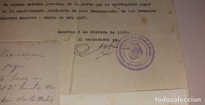 Facturas antiguas: Papel antiguo. Recibo recibí pago por tierras, zona Elda-Monóvar, 1948 y 1950 - Foto 2 - 154996878