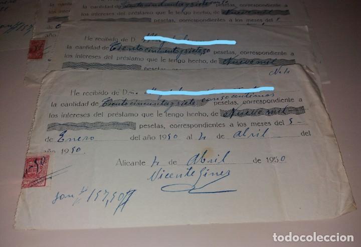 Facturas antiguas: Papel antiguo. Recibo recibí préstamo entre particulares. 1950, Alicante, lote de 5, timbre móvil - Foto 2 - 154997194