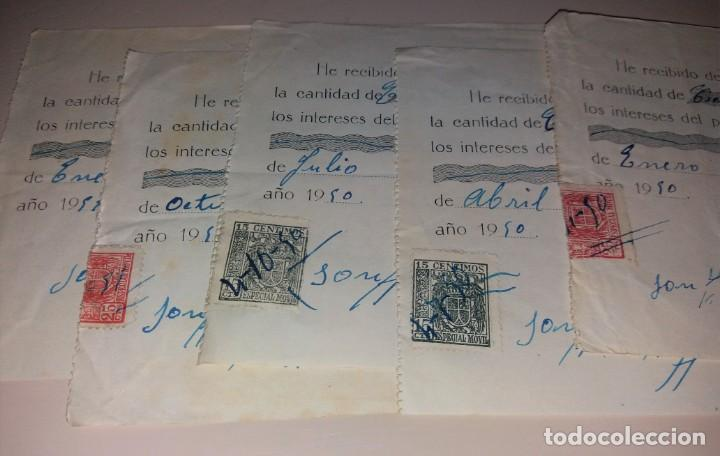 Facturas antiguas: Papel antiguo. Recibo recibí préstamo entre particulares. 1950, Alicante, lote de 5, timbre móvil - Foto 3 - 154997194