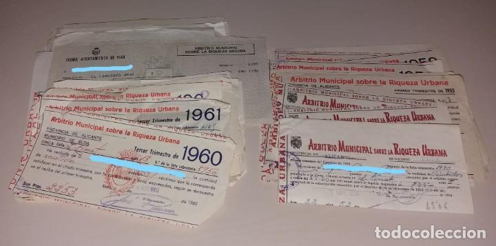 PAPEL ANTIGUO. RECIBOS AYUNTAMIENTO ELDA. ARBITRIO MUNICIPAL, RIQUEZA URBANA Y OTROS. 1954 A 1970 (Coleccionismo - Documentos - Facturas Antiguas)