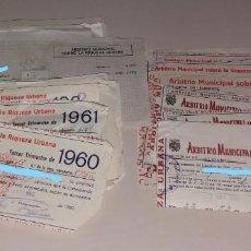Facturas antiguas: PAPEL ANTIGUO. RECIBOS AYUNTAMIENTO ELDA. ARBITRIO MUNICIPAL, RIQUEZA URBANA Y OTROS. 1954 A 1970. Lote 154997446
