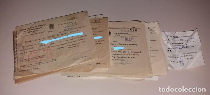 PAPEL ANTIGUO. RECIBOS AYUNTAMIENTO ELDA. CÁMARA OFICIAL DE LA PROPIEDAD. 1940 A 1973 (Coleccionismo - Documentos - Facturas Antiguas)