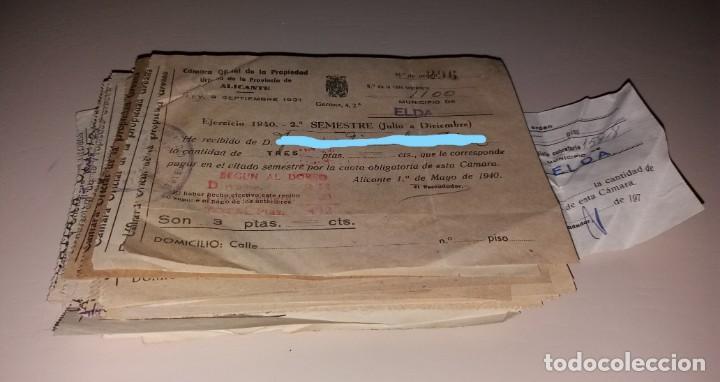 Facturas antiguas: Papel antiguo. Recibos Ayuntamiento Elda. Cámara Oficial de la Propiedad. 1940 a 1973 - Foto 3 - 154997626