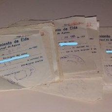 Facturas antiguas: PAPEL ANTIGUO. RECIBOS AYUNTAMIENTO ELDA. SERVICIO MUNICIPAL DE AGUAS. 1960 A 1966. Lote 154998354