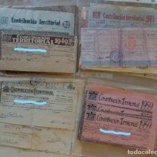 Facturas antiguas: PAPEL ANTIGUO. RECIBOS AYUNTAMIENTO ELDA. CONTRIBUCIÓN TERRITORIAL. 1939 A 1987. Lote 154998670