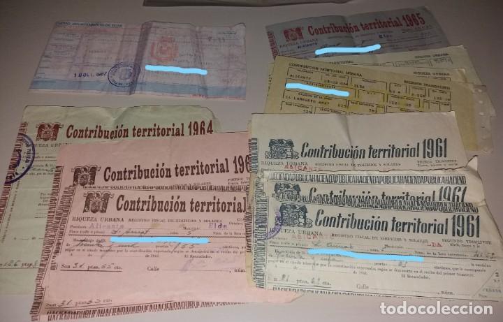 Facturas antiguas: Papel antiguo. Recibos Ayuntamiento Elda. Contribución territorial. 1939 a 1987 - Foto 6 - 154998670