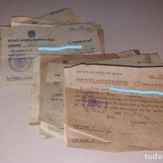 Facturas antiguas: PAPEL ANTIGUO. RECIBOS AYUNTAMIENTO ELDA. DESAGÜE DE CANALONES. 1940 A 1955. Lote 154998958