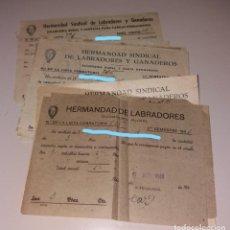 Facturas antiguas: PAPEL ANTIGUO. RECIBOS HERMANDAD DE LABRADORES. GUARDERÍA RURAL, 1941 A 1951. ELDA (ALICANTE). Lote 154999410