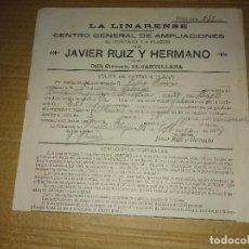 Facturas antiguas: POLIZA CANTILLANA SEVILLA LA LINARENSE FOTOGRAFO JAVIER RUIZ Y HERMANO 1918. Lote 155143966