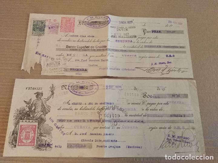 2 BANCARIO JEREZ DE LA FRONTERA CADIZ J M RIVERO BODEGA VINO 1936-37 (Coleccionismo - Documentos - Facturas Antiguas)