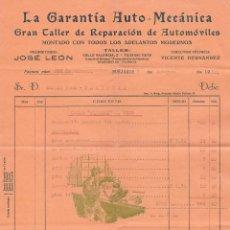 Facturas antiguas: 2 ANTIGUAS FACTURAS DEL AÑO 1930 , REPARACIÓN DE AUTOMOVILES. COCHE PEUGEOT. BURJASOT. Lote 155449234