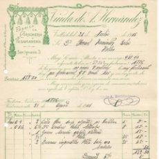 Facturas antiguas: ANTIGUA FACTURA MANUSCRITA FABRICA DE CORDONERIA Y PASAMANERIA VIUDA DE HERNANDEZ HELLIN 1915. Lote 155457106