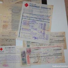 FACTURA FARMACIA HIJOS DE DOMINGO QUERALTÓ CARTA COMERCIAL + PAGARÉS AÑO 1939