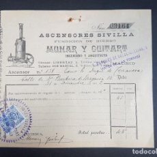 Faturas antigas: MADRID 1902 FACTURA ASCENSORES SIVILLA ASCENSOR DUQUE DE TERRANOVA CALLE DE BARBARA DE BRAGANZA. Lote 155811546