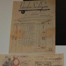 Facturas antiguas: FACTURA FARMACIA LABORATORIOS SUR DE ESPAÑA MÁLAGA AÑO 1939 + PAGARÉ LETRA DE CAMBIO. Lote 155851098