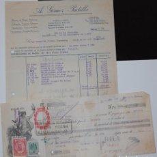Facturas antiguas: FACTURA FARMACIA A. GÓMEZ PADILLA AÑO 1939 + PAGARÉ LETRA DE CAMBIO. Lote 155851458