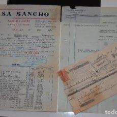 Facturas antiguas: FACTURA FARMACIA CASA SANCHO SEVILLA AÑO 1939 + PAGARÉ LETRA DE CAMBIO. Lote 155851918