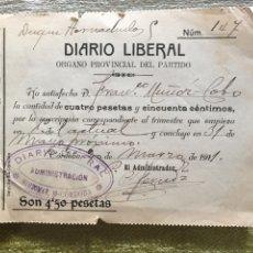 Facturas antiguas: RECIBO DIARIO LIBERAL DE CORDOBA DE 1911. Lote 155922502