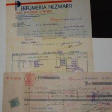 FACTURA FARMACIA PERFUMERÍA NEZMARTI CARTAGENA AÑO 1939 + PAGARÉ LETRA DE CAMBIO