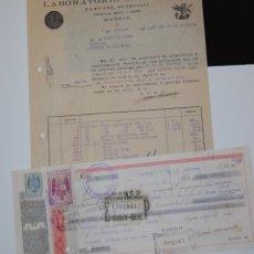 Facturas antiguas: FACTURA FARMACIA LABORATORIOS J. NAVARRO DE MADRID + PAGARÉ CON ESCUDO FALANGISTA. Lote 156010638