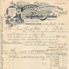 Facturas antiguas: ANTIGUA FACTURA MANUSCRITA FABRICA DE HILOS RAMON JULIA. BARCELONA 1915. Lote 156287326