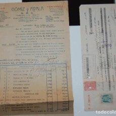 FACTURA FARMACIA GOMIZ Y AYALA CARTAGENA + PAGARÉ LETRA DE CAMBIO AÑO 1939