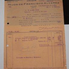 Facturas antiguas: FACTURA FARMACIA HIJOS DE FERNANDO ÁLVAREZ CARTAGENA 1939. Lote 156668178