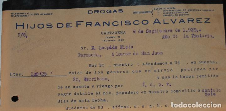 Facturas antiguas: FACTURA FARMACIA HIJOS DE FERNANDO ÁLVAREZ CARTAGENA 1939 - Foto 2 - 156668178