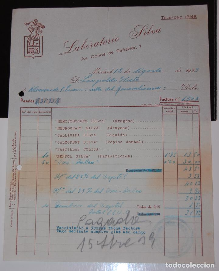 FACTURA FARMACIA LABORATORIOS SILVA MADRID AÑO 1939 (Coleccionismo - Documentos - Facturas Antiguas)