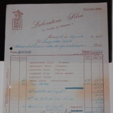 FACTURA FARMACIA LABORATORIOS SILVA MADRID AÑO 1939