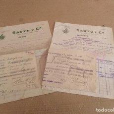 Facturas antiguas: LOTE FACTURAS / LETRA JEREZ DE LA FRONTERA CADIZ SAUTU Y Cª. AÑOS 30 . Lote 156873498