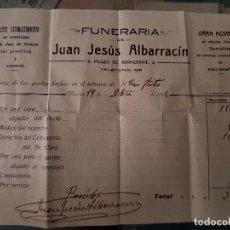 Facturas antiguas: ANTIGUA FACTURA PUBLICIDAD COMERCIAL FUNERARIA ALBARRACIN PLAZA MONASSOT MURCIA 1930. Lote 157018702