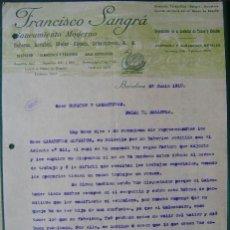 Facturas antiguas: FACTURA - FRANCISCO SANGRÁ - SANEAMIENTOS- BAÑERAS; LAVABOS; - BARCELONA 1915 - 2 FOTOS. Lote 157020858