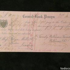 Facturas antiguas: LETRA DE CAMBIO. CORNISH BANK. LONDRES. 1877. Lote 157111477